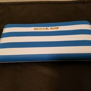 Michael Kors blue and white striped wallet
